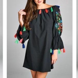 VELZERA Off The Shoulder Floral Embroidered Dress